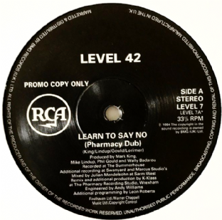 "Level 42 ‎- Learn To Say No (Pharmacy/K-Klass Mixes) (12"") (Promo) (VG-/NM)"